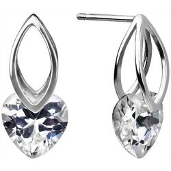Signature CZ Heart Drop Post Top Earrings