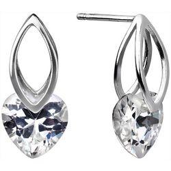 Signature CZ Heart Drop Post Top Earrings