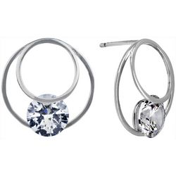 Signature 18mm CZ Hoop Post Top Earrings