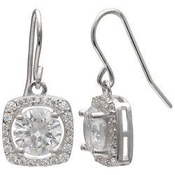 Krystel B Sterling Silver Square Halo Drop Earrings