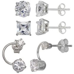 Tackle & Tides Sterling Silver Trio Stud Earring Set