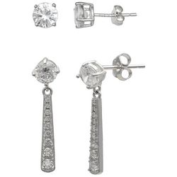 Tackle & Tides Sterling Silver Linear Drop Stud Earring Set