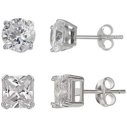 Krystel B 2-pc. Sterling Silver CZ Stud Earring Set