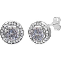 Silver Brilliance Round CZ Stud Earrings
