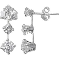 Signature Three CZ Drop Stud Earrings