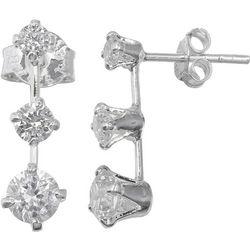 Silver Brilliance Three CZ Drop Stud Earrings