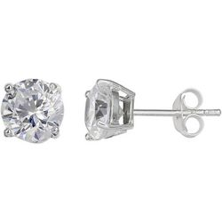 Silver Brilliance 8mm Round CZ Stud Earrings