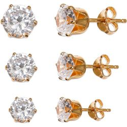 Silver Brilliance CZ 18K Gold Plate Earring Set