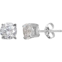 Silver Brilliance 6mm Round CZ Stud Earrings