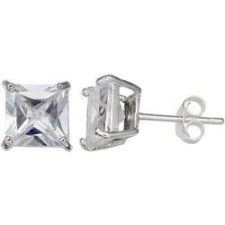 Silver Brilliance Princess Cut CZ Stud Earrings