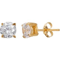 Signature 6mm CZ Gold Tone Stud Earrings