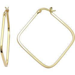 Silver Elements Gold Plated Square Hoop Earrings