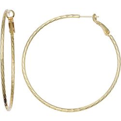 Silver Elements Gold Plated Diamond Cut Hoop Earri