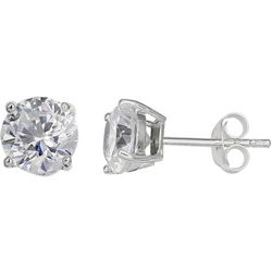Signature CZ Round Sterling Silver Earrings