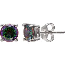 Silver Brilliance Mystic Topaz CZ Stud Earrings