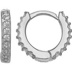 Signature Sterling Silver & CZ Huggie Hoop Earring
