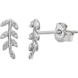 Signature Sterling & CZ Leaf Stud Earrings