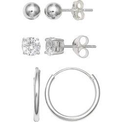 Silver Enchantment 3-pc. Ball Hoop CZ Earring Set