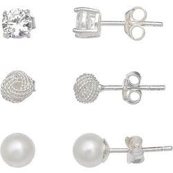 Silver Enchantment CZ, Faux Pearl & Love Knot Earring Set