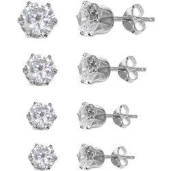 Silver Enchantment 4-pc. Sterling Silver CZ Stud Earring Set