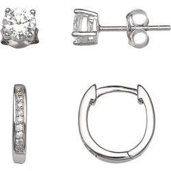Silver Enchantment 2-pc. CZ Stud & Small Hoop Earring Set
