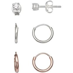 Silver Enchantment 3-pc. CZ & Two Tone Hoop Earring Set