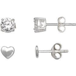 Silver Enchantment 2-pc. 5mm CZ/Heart Stud Earring Set