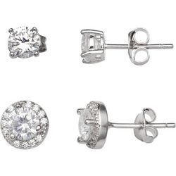 Silver Enchantment 2-pc. CZ Round & Halo Stud Earring Set