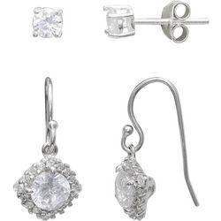 Silver Enchantment 2-pc. CZ Stud & Halo Drop Earring Set