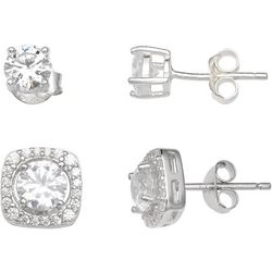 Silver Enchantment 2-pc. Round & Square Stud Earring Set
