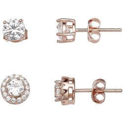 Silver Enchantment 2-pc. Rose Gold Tone Stud Earring Set