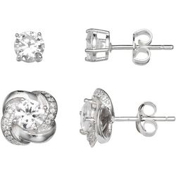 Silver Enchantment 2-pc. CZ Round & Love Knot Earring Set