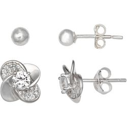Silver Enchantment 2-pc. Ball & Pave Earring Stud Set