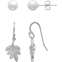 Silver Enchantment 2-pc. Faux Pearl & CZ Leaf Earring Set