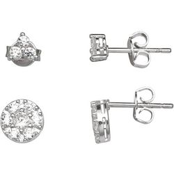 Silver Enchantment 2-pc. CZ Round & Pave Earring Set