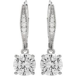 Silver Brilliance 7mm CZ Dangle Earrings