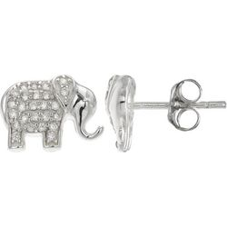 Silver Brilliance Pave CZ Elephant Earrings