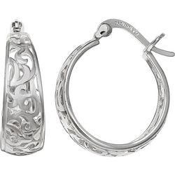 Silver Brilliance Filigree Graduated Hoop Earrings