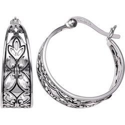 Silver Brilliance Filigree Hoop Earrings