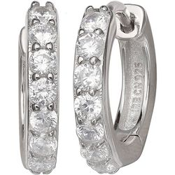 Silver Brilliance Cubic Zirconia Hoop Earrings