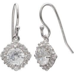 Silver Brilliance Cubic Zirconia Halo Dangle Earrings