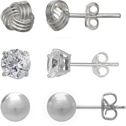 Silver Brilliance 3-pc. Love Knot & CZ Earring Set