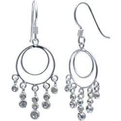 Signature Sterling Silver Crystal Dangle Earrings