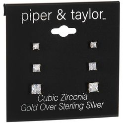 Piper & Taylor 3-Pc. Cubic Zirconia Square Earrings