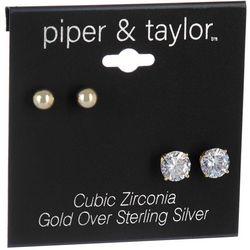 Piper & Taylor 2-Pc. Rhinestone & Simulated Pearl Earrings