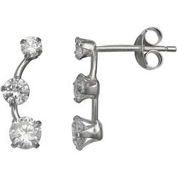 Signature Sterling Silver Triple CZ Curve Earrings