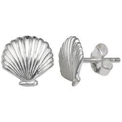 Silver Brilliance Seashell Stud Earrings