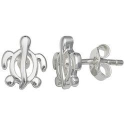 Silver Brilliance Sea Turtle Stud Earrings