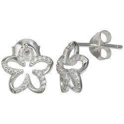 Silver Brilliance CZ Sea Flower Stud Earrings