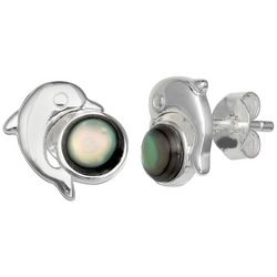 Silver Brilliance Abalone Dolphin Stud Earrings